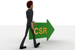 3d man walking in direction of arrow with csr text concept Stock Image
