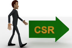 3d man walking in direction of arrow with csr text concept Royalty Free Stock Photography
