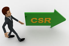 3d man walking in direction of arrow with csr text concept Stock Images