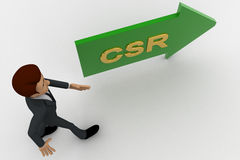 3d man walking in direction of arrow with csr text concept Royalty Free Stock Photo