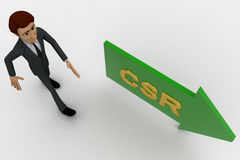 3d man walking in direction of arrow with csr text concept Stock Photo