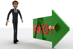 3d man walking in direction of arrow with info text concept Stock Photography