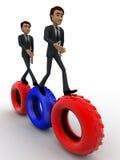 3d man walking on gear cogwheel concept Royalty Free Stock Photos