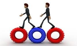 3d man walking on gear cogwheel concept Royalty Free Stock Photography