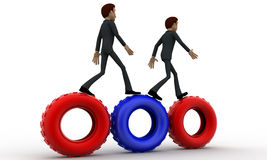 3d man walking on gear cogwheel concept Royalty Free Stock Photo