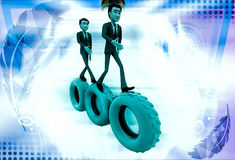 3d man walking on gear cogwheel illustration Royalty Free Stock Photography
