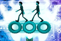 3d man walking on gear cogwheel illustration Royalty Free Stock Image
