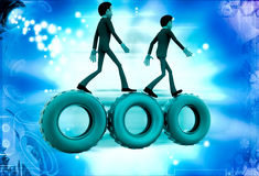 3d man walking on gear cogwheel illustration Stock Photos