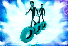 3d man walking on gear cogwheel illustration Stock Photography