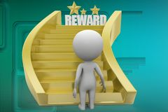 3d man Walking Golden steps Reward illustration Stock Photos