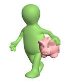 3d man walking with piggy bank. 3d puppet walking with piggy bank. Isolated no white background Royalty Free Stock Photos