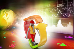 3d man walking in recycle icon. In colorful background Royalty Free Stock Photo