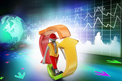 3d man walking in recycle icon. In colorful background Stock Photography