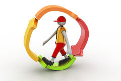 3d man walking in recycle icon. In white color background Royalty Free Stock Photo