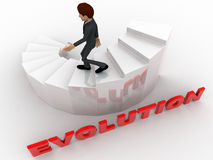 3d man walking on stair with evolution concept Stock Photo