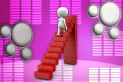 3d man walking on step illustration Royalty Free Stock Photo