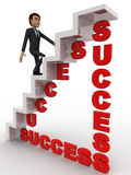 3d man walking on success stair concept Royalty Free Stock Image