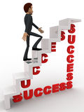 3d man walking on success stair concept Stock Images