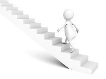 3d man walks upstairs on ladder. Success concept 3d render illustration Royalty Free Stock Photo