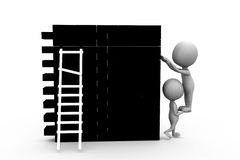 3d man wall leder concept Stock Image