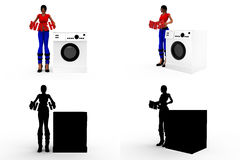 3d man with washing machine Concept Collections With Alpha And Shadow Channel Royalty Free Stock Photo