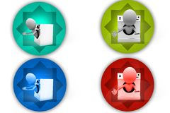 3D Man in washing machine concept icon Stock Photography