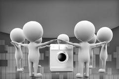 3d man washing machine illustration Royalty Free Stock Photo