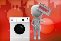3d man washing machine illustration Stock Photography