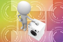 3d man with washing machine illustration Royalty Free Stock Photos
