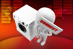 3d man washing machine illustration Royalty Free Stock Images