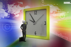 3d man watching the clock Royalty Free Stock Image