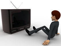 3d man watching old antenna television concept Royalty Free Stock Photography