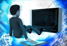 3d man watching old antenna television illustration Stock Photos