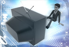 3d man watching old antenna television illustration Royalty Free Stock Photography