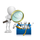 3d man watching the tools in the toolbox. With a magnifying glass Royalty Free Stock Photography