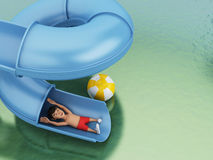 3d Man on a water slide. Holidays concept. Royalty Free Stock Photography