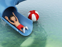 3d Man on a water slide. Holidays concept. Royalty Free Stock Image