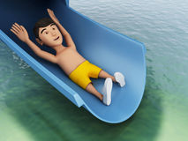 3d Man on a water slide. Holidays concept. Royalty Free Stock Photos