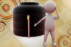 3d man water storage tank  illustration Royalty Free Stock Photo