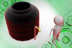 3d man water storage tank  illustration Stock Photo