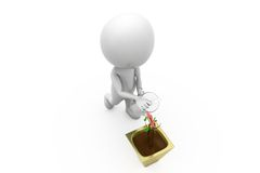 3d man watering concept Royalty Free Stock Photography