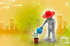 3d man watering the plant Stock Photography