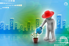 3d man watering the plant Royalty Free Stock Images