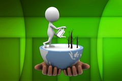 3d man watering plant illustration Stock Photography