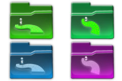 3d Man watering road concept icon Stock Photography