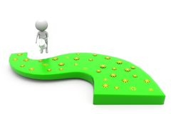 3d man watering road concept Stock Photo