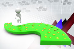 3d man watering road illustration Royalty Free Stock Images