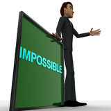 3d man wave one hand and with blue IMPOSSIBLE text on board concept Royalty Free Stock Images