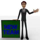 3d man wave one hand and with blue NEW TEAM text on board concept Stock Photography