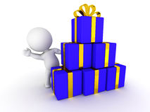 3D Man Waving from behind stack of Wrapped Gifts Stock Image
